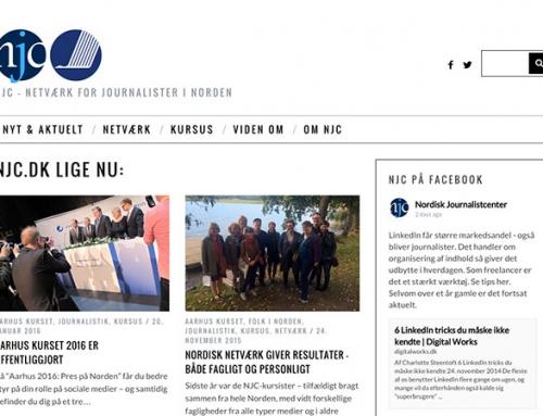 Nordisk Journalistcenters nye hjemmeside