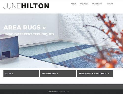 Grafisk identitet til tæppedesigner June Hilton